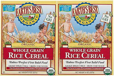 Earth's Best Baby Cereal , Rice , 8 Oz (Pack of 2)