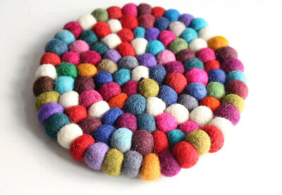 Colorful Round Felt Balls Placemat 14cm diameter FBM21