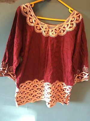 2-PIECE AFRICAN TOP AND SKIRT WITH EMBROIDERY W46 inch