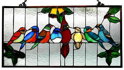 CARDINAL PARROTS Blue Bird Parrot Tanager Lark Finch STAINED GLASS WINDOW PANEL