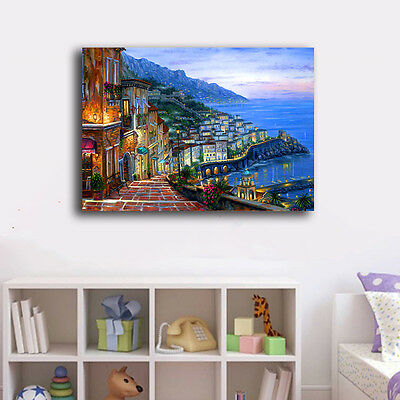 50×70×3cm Watercolor City Night Canvas Prints Framed Wall Art Home Decor Gift