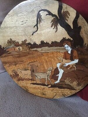 Superb Circular Marquetry Plaque Indian Sikh Boy With Dogs In Landscape Setting