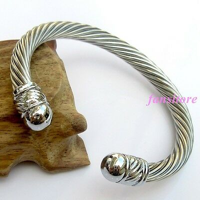 Fashion Silver Women Mens Jewelry Stainless steel Rope Wire Bracelet Cuff Bangle