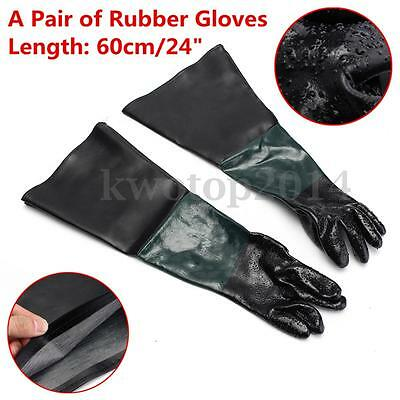 "1 Pair Of Rubber Gloves Replacement 10"" x 24"" For Sandblaster Sand Blast Cabinet"