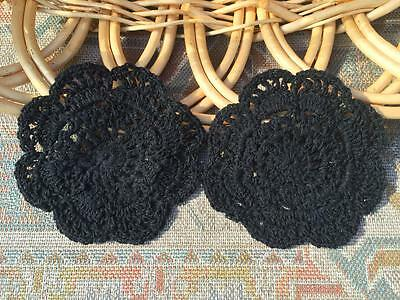 Two Chic Black Flower Hand Crochet Lace Doily--4""