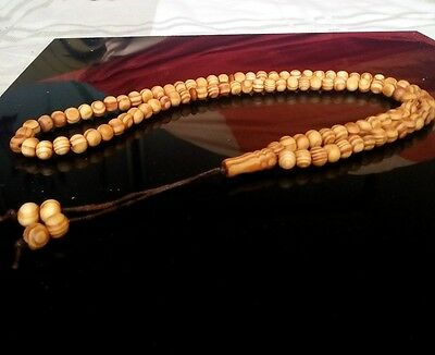 NATURAL WOOD 99 Prayer Beads Muslim Allah Misbaha Tasbih Tasbeeh Islam Long Tan