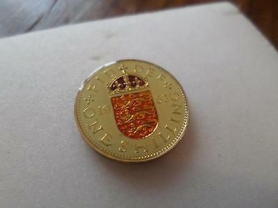 Vintage Enamelled Shilling Coin 1963. Lucky Charm. Birthday Xmas Christmas Gift