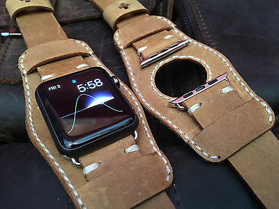 Handmade Brown Leather Cuff Watch Strap Band For Apple Watch 42mm Series 1/2