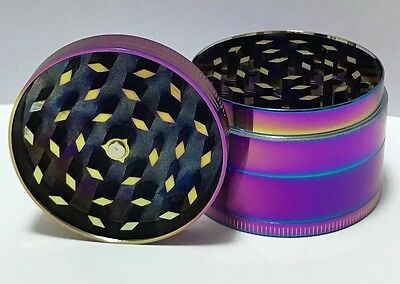New 4 Layer 50mm Rainbow Dazzle Color Metal Herb Crusher Grinder Zinc Alloy