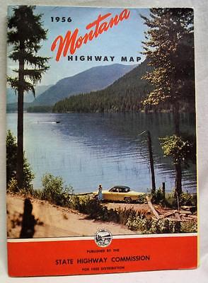 State Of Montana Official Automobile Highway Road Map 1956 Vintage Travel