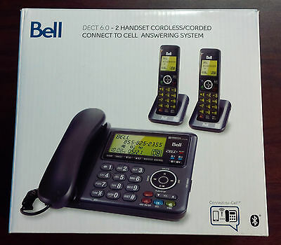 Bell DECT 6.0 - 2 Handset Cordless/Corded Connect to Cell Answering System
