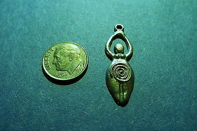 Pewter  Fertility Goddess  Pendant 1 1/2 Inches  Long