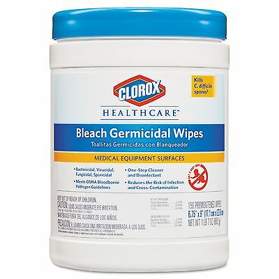 Clorox Healthcare 30577 Bleach Germicidal Wipes 6 3/4 x 9 Unscented 150/Canister