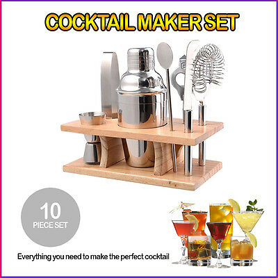 10 Pcs Cocktail Maker Set Drink Shaker Bar Professional Set With Wooden Stand
