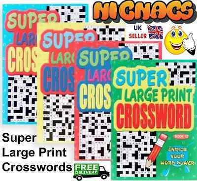 ONE A4 X LARGE PRINT CROSSWORD PUZZLE BOOK. 4 book Variations Available