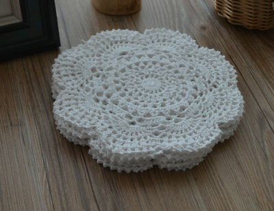 "Set 6 Victorian White 8"" Round Floral Crochet Lace Doilies Wedding Lot"