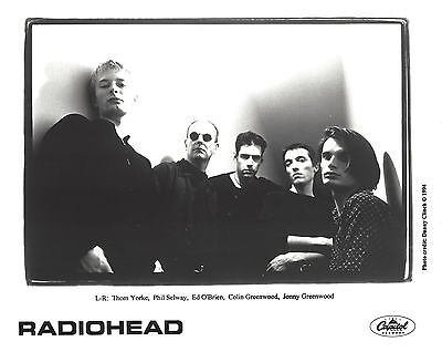 Radiohead - 8 x10 B&W  Record Company Publicity Photo 1994