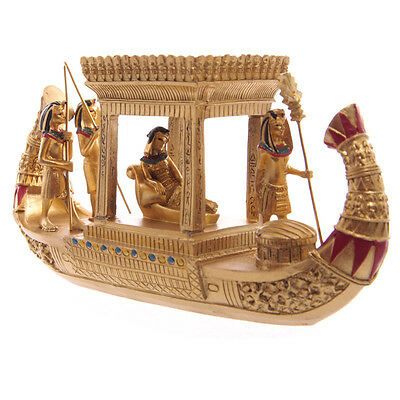 Golden Egyptian Royal Queen Canopy Boat Home Indoor Decoration Ornament Gift NEW