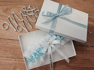 Personalised Wedding Garter Something Blue Bride Present Gift Boxed Pg102Gb