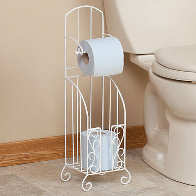 Toilet Paper Holder Bathroom Roll Dispenser Free Standing Storage Bath Organizer