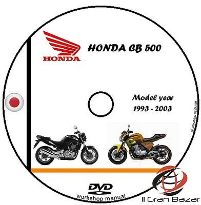 Manuale Officina Honda Cb 500 My 1993 - 2003 Workshop Manual Service Cd Dvd
