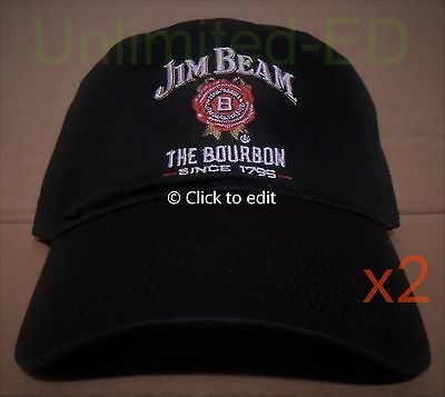 2x Jim Beam Cap/Hat - Set of 2 - BRAND NEW - FREE USA SHIPPING - bourbon/whisky