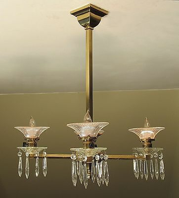 """SPECTACULAR! Antique c. 1890's Mission Light Fixture """"PAGODA"""" Shades - RESTORED!"""