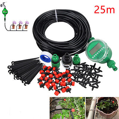 25M DIY Micro Drip Irrigation System Water Timer Plant Watering Garden Hose Kits