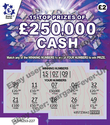 Fake Joke Winning Lottery Scratch Cards -Put 1 in a Xmas Card Gift Birthday Card
