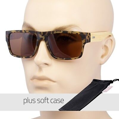 DARK BAMBOO WOOD GLASSES SUNGLASSES POLARIZED UV400 Tortois POUCH