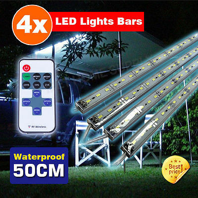 4X12V Waterproof Cool White 5630 Led Strip Lights Bars Dimmer Camping Boat Car