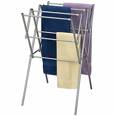 Household Essentials Expandable Folding Indoor Clothes Drying Rack, Satin Silver