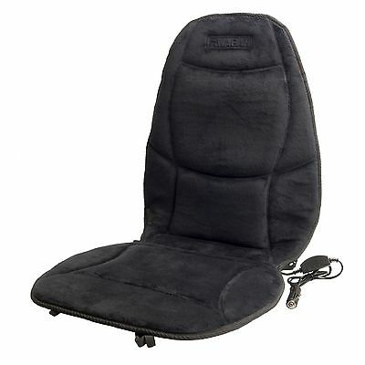 Wagan IN9438 Black 12-Volt Velour Heated Seat Cushion with Lumbar Support
