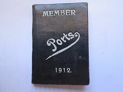 1912 Port Adelaide Magpies Football Club Membership Ticket Book Extremely Rare