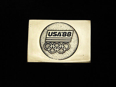 Pl11114 Vintage 1988 **usa '88** Olympic Games Sports Solid Brass Bts Buckle