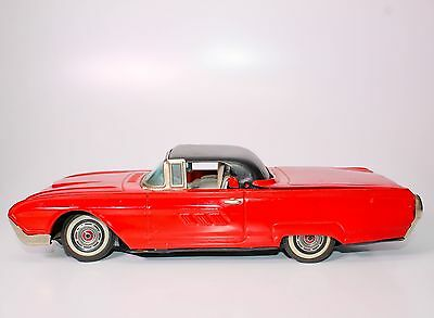 SCARCE LARGE JAPANESE YONEZAWA FORD T-BIRD TIN FRICTION CAR w/RETRACTABLE ROOF