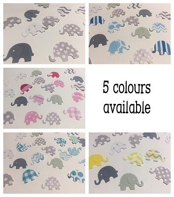 50 BABY SHOWER ELEPHANT PAPER PUNCHIES CONFETTI GREY & YELLOW PINK TEAL or BLUE