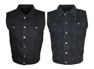 Men's Denim Vest Biker Jacket Basic And Distress Washed Blk Denim.