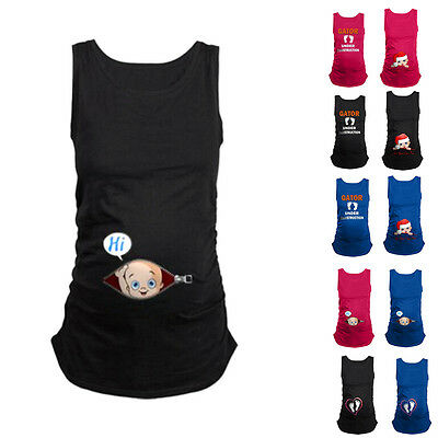 Funny Maternity Pregnancy Cotton T-shirt Top Sleeveless Blouse Baby Peeking Out
