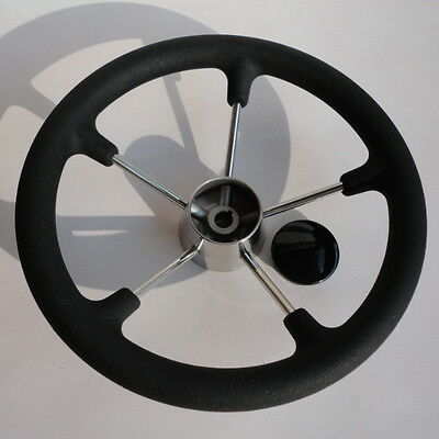 "5 Spoke 13.5"" Stainless Steel Boat Marine Steering Wheel With Black PU Foam Grip"