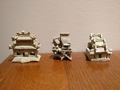 3 Mud Men Figurines Bonsai Chinese hut temple buildings