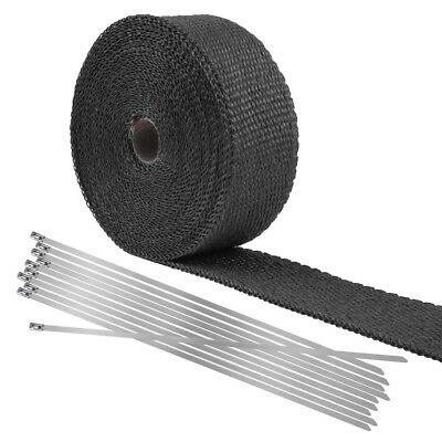 10m Exhaust Shield Tape Header Heat Webbing Wrap Pipe Insulation Motorcycle UK