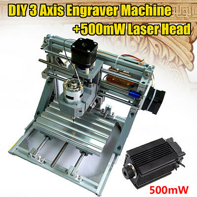 DIY 3 Axis Engraver Machine Milling Wood Carving Engraving w/ 500mW laser head
