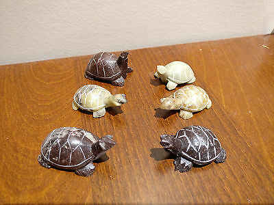 Chinese Hand Carved Soap Stone 6 Turtles