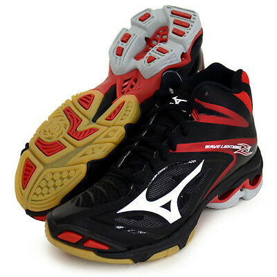 Mizuno Japan Men's WAVE LIGHTNING Z 3 MID Volleyball Shoes V1GA1705 Black Red