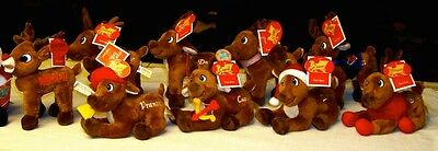 Lot 9 2009 Rudolph the Red Nosed Reindeer & 8 Reindeers Plushes Dan Dee NWT