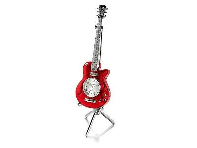 Miniature Red Guitar Clock And Stand