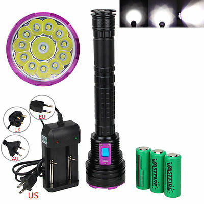 Underwater 100m 30000LM 12XT6 LED Diving Flashlight Torch PCB 18650/26650 Light
