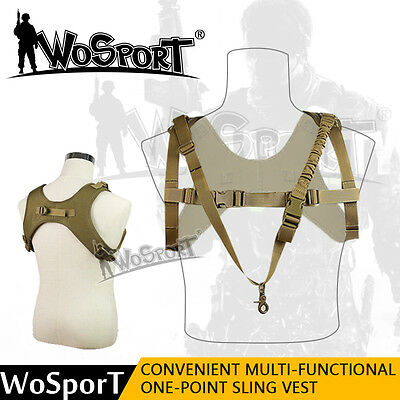 Tactical Hunting One Single Point Adjustable Bungee Rifle Gun Sling Strap Vest