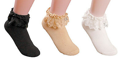 8941a1542 AM Landen®Super Cute Princess Lace Ruffle Frilly Ankle Socks-3 Pairs set